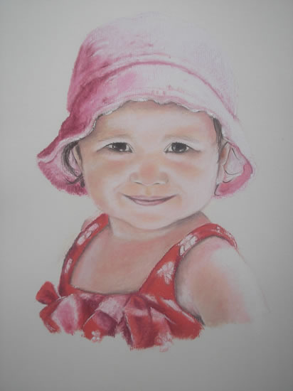 Portrait of Girl in Pencil, Charcoal and Pastels - Girl in Pink - Heidi Meadows - Surrey Art Gallery