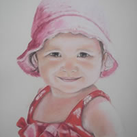 Portrait of Girl in Pencil, Charcoal and Pastels – Girl in Pink – Heidi Meadows – Surrey Art Gallery