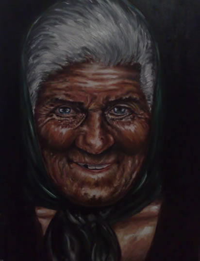 Portrait of Old Lady - Richard Johnson - Surrey and Hampshire Art Gallery - England