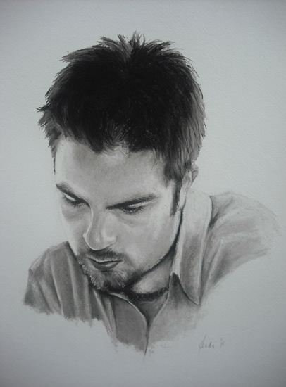 Portrait of Young Man in Pencil, Charcoal and Pastels - Toby - Heidi Meadows - Surrey Art Gallery