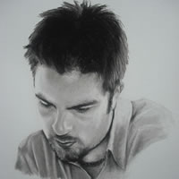 Portrait of Young Man in Pencil, Charcoal and Pastels – Toby – Heidi Meadows – Surrey Art Gallery