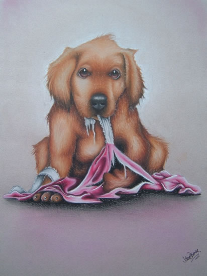 Puppy Caught in the Act - Pet and Horse Portraits and Fantasy Art - Jane Disney - Frimley and Camberley Society of Arts - Surrey Art Gallery