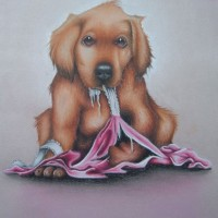 Puppy Caught in the Act – Pet and Horse Portraits and Fantasy Art – Jane Disney – Frimley and Camberley Society of Arts – Surrey Art Gallery