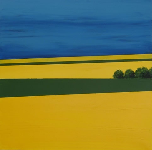 Rapeseed Field 2 - Hampshire Artist Jan Rippingham - Paintings in Acrylics - Surrey Art Gallery