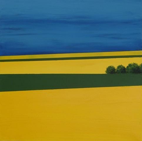 Rapeseed Field 2 - Hampshire Artist Jan Rippingham - Paintings in Acrylics - Surrey Art Gallery