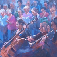 Rehearsing The Requiem – Bracknell Choral Society – Liz Seward S.W.A. S.F.P. Professional Artist, Art Tutor and Art Society Demonstrations