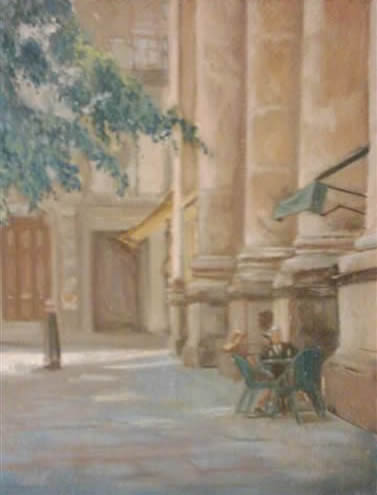 Relaxation - Street Scene - James Carey-Wilson - Fine Art and Specialist Decorative Painting - Surrey Art Gallery