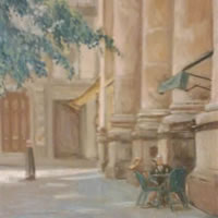 Relaxation – Street Scene – James Carey-Wilson – Fine Art and Specialist Decorative Painting – Surrey Art Gallery