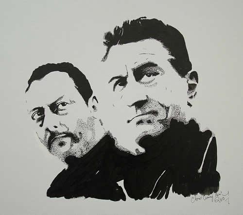 Robert De Nero and Jean Reno Portrait - Surrey Artist Chris Cunningham - Portrait Artist - Commissions Invited for Paintings of Film Stars, Rock Stars, Anyone Else