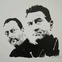 Robert De Nero and Jean Reno Portrait – Surrey Artist Chris Cunningham – Portrait Artist – Commissions Invited for Paintings of Film Stars, Rock Stars, Anyone Else