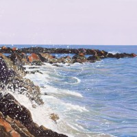 Rocks – Sicilian Sea II – Sicilian Artist Teresa Scannella – Surrey Artists Gallery – White Rose Art Group Woking