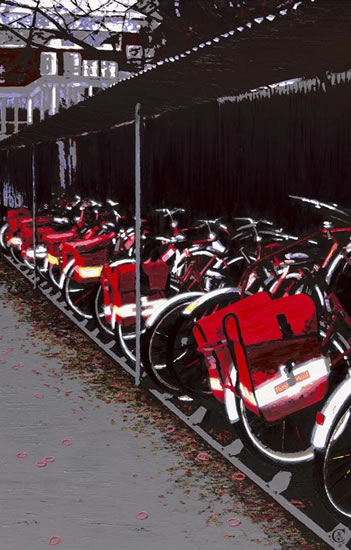 Royal Mail Bikes - Californian Artist Barbara Caswell - Surrey Artists Gallery - Canvas Giclee Prints of Acrylic on Canvas