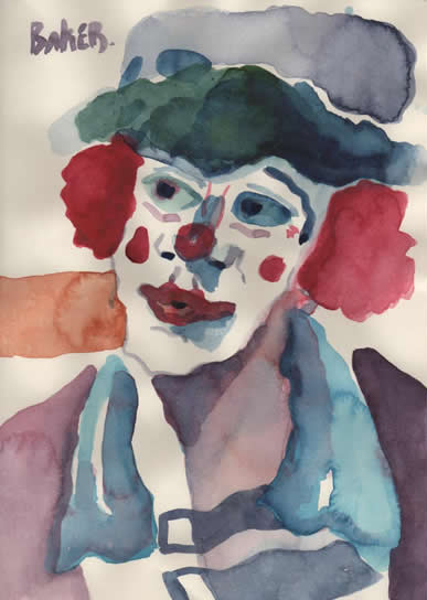 Sad Clown - Please Don't Let Me Dream Alone Anymore! - Clown Artist - Miles Baker - Devon Gallery