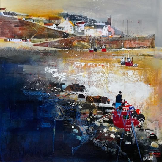 Scotland - Crail, Fife - Looking Towards The Harbour - Nagib Karsan - Artist in Watercolours, Mixed Media and Collage - Guildford Art Society
