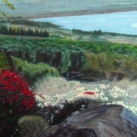 Landscape – Sea of Galilee – View from the Church of Beatitudes – Surrey Artist Usha Chambore – Acrylic Paintings and Prints