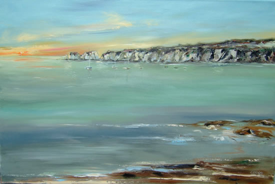 Seascape - Studland Sunrise, Dorset - Chris Elsden - Original Paintings and Fine Art Prints - Devon Artist