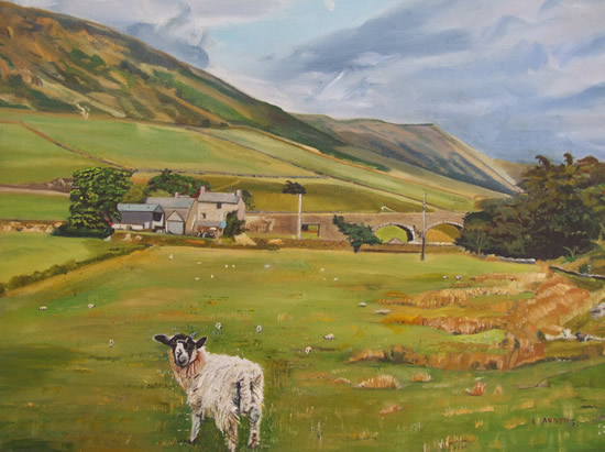 Sheep Farm near Kendal, Cumbria - Rodney Thomas Annetts - Woking Society Of Arts - Surrey Artists Gallery