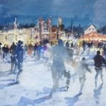 Skating At Hampton Court – Kim Page – Paintings in Watercolour and Oil – Surrey Art Gallery – England