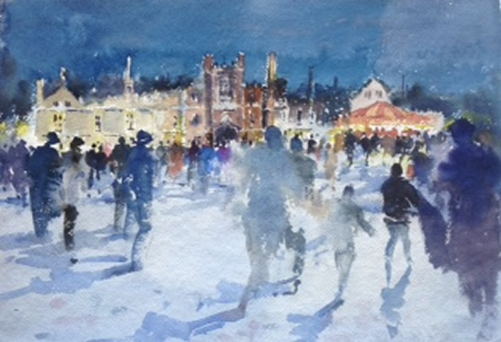 Skating At Hampton Court - Kim Page - Paintings in Watercolour and Oil - Surrey Art Gallery - England