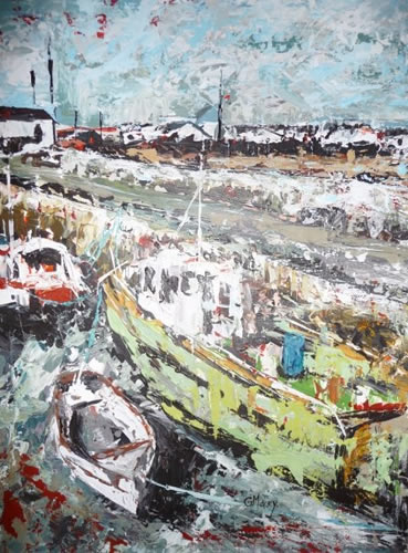Boats 3 - Slade, Wexford Ireland - Grainne Roche - Fine Artist - Byfleet Art Group - Woking Society of Arts - Surrey Art Gallery
