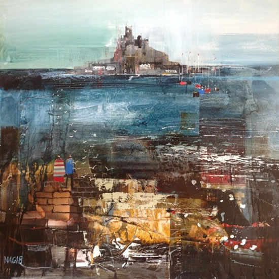 St Michael's Mount from Marazion, Cornwall - Nagib Karsan - Artist in Watercolours, Mixed Media and Collage - Dorking Group of Artists