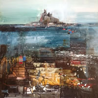 St Michael's Mount from Marazion, Cornwall – Nagib Karsan – Artist in Watercolours, Mixed Media and Collage – Dorking Group of Artists