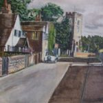 St Peter's Church, Old Woking, Surrey 1940s – Rodney Thomas Annetts – Woking Society Of Art – Surrey Artists Gallery