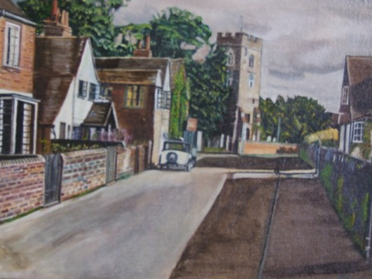 St Peter's Church, Old Woking, Surrey 1940s - Rodney Thomas Annetts - Woking Society Of Art - Surrey Artists Gallery