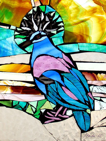Stained Glass Mosaic - Crowned Dove - Artist - Susanne Parker - Surrey Artists Gallery
