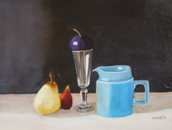 Still Life - Blue Jug and Fruit - Rodney Thomas Annetts - Woking Society Of Arts - Surrey Artists Gallery