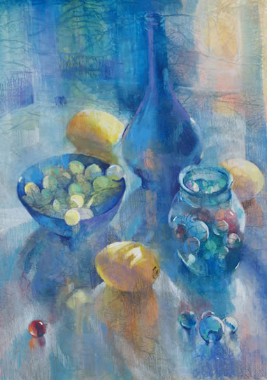 Still Life - Glass, Marbles and Lemons - Liz Seward S.W.A. S.F.P. Professional Artist, Art Tutor and Art Society Demonstrations