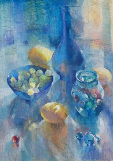 Still Life - Glass, Marbles and Lemons - Liz Seward S.W.A. S.F.P. Professional Artist, Art Tutor and Art Society Demonstrations