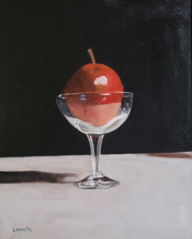 Still Life - Red Apple in Glass Tumbler - Surrey Art Gallery - Rodney Thomas Annetts - Woking Society Of Arts - Surrey Artists