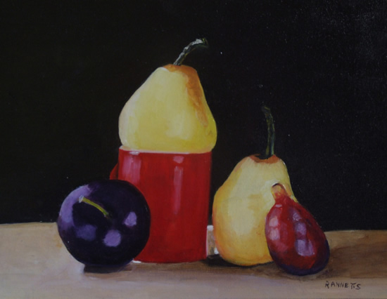 Still Life - Red Jug with Fruit - Rodney Thomas Annetts - Woking Society Of Arts - Surrey Artists Gallery
