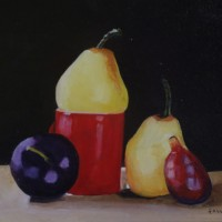 Still Life – Red Jug with Fruit – Rodney Thomas Annetts – Woking Society Of Arts – Surrey Artists Gallery
