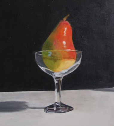 Still Life - Red Pear in Glass Tumbler - Rodney Thomas Annetts - Surrey Artists Gallery - Woking Society Of Arts