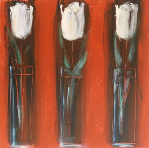 Still Life - Tulips on Venetian Red - Hampshire Artist Jan Rippingham - Paintings in Acrylics - Surrey Art Gallery