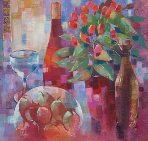 Still Life with Plums and Pepper Pot - Liz Seward S.W.A. S.F.P. Professional Artist, Art Tutor and Art Society Demonstrations