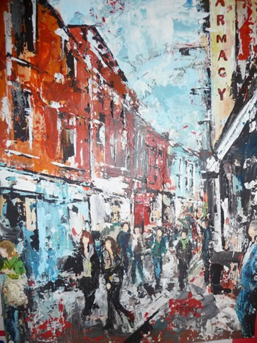 Street Scene, Ireland - Main Street - Grainne Roche - Fine Artist - Byfleet Art Group - Woking Society of Arts - Surrey Art Gallery