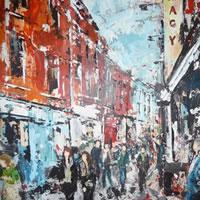 Street Scene, Ireland – Main Street – Grainne Roche – Fine Artist – Byfleet Art Group – Woking Society of Arts – Surrey Art Gallery