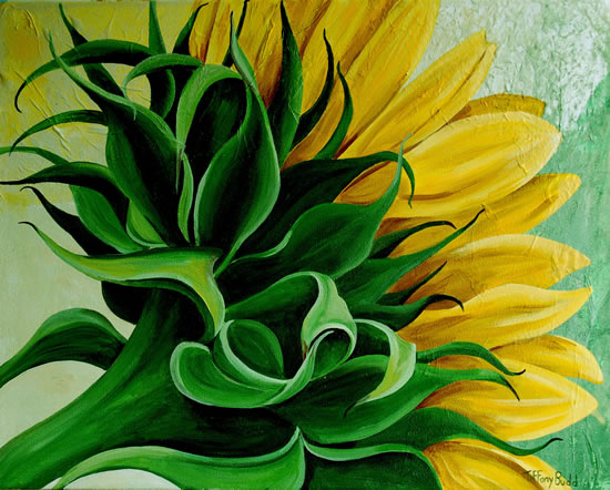 Sunflower Close Up - Tiffany Budd - Fine Artist - National Acrylic Painters Association - Surrey Artists Gallery