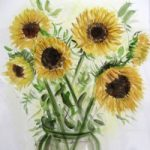 Sunflowers – Still Life – Nerissa Davies – Puttenham Artist Painting in Watercolours – Surrey Art Gallery