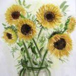 Sunflowers – Still Life – Nerissa Davies – Puttenham Artist Painting in Watercolours – Surrey Art Gallery