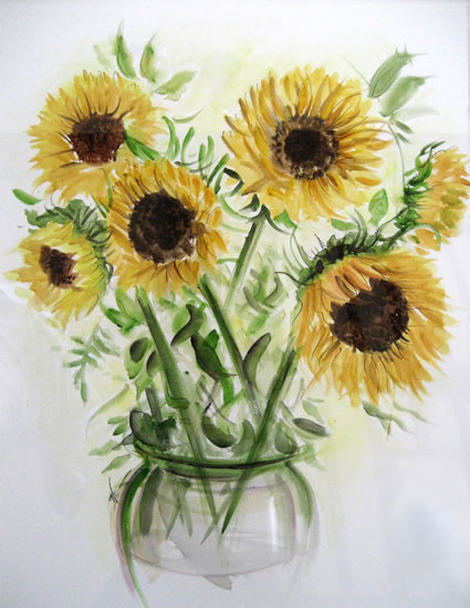 Sunflowers - Still Life - Nerissa Davies - Puttenham Artist Painting in Watercolours - Surrey Art Gallery