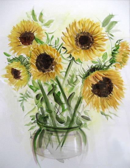 Sunflowers - Still Life - Nerissa Davies - Puttenham Artist Painting in Watercolours - Surrey Art Gallery