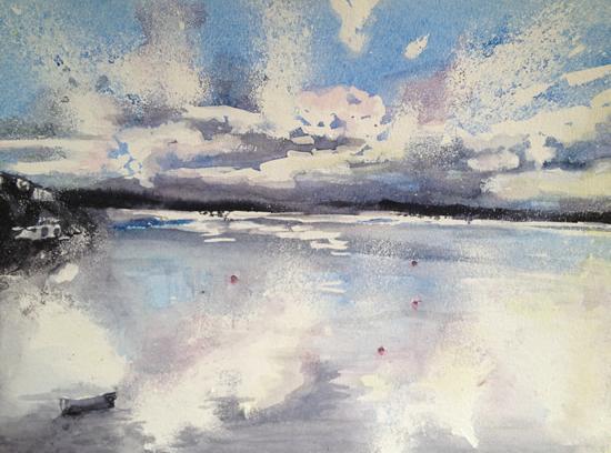 Sunset - Abstract, Contemporary Art - Surrey Artist Ingrid Skoglund - Guildford Art Society, Village Artists, Pirbright Art Club,