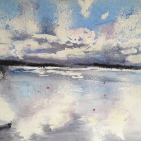 Abstract, Contemporary Art – Sunset – Surrey Artist Ingrid Skoglund – Guildford Art Society, Village Artists, Pirbright Art Club, Normandy Artists and West Surrey Artists