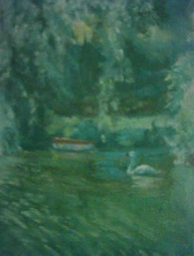 Swan on the Thames - James Carey-Wilson - Fine Art and Specialist Decorative Painting - Surrey Art Gallery