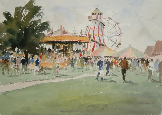 The Victorian Steam Fair - Kim Page - Paintings in Watercolour and Oil - Surrey Art Gallery - England