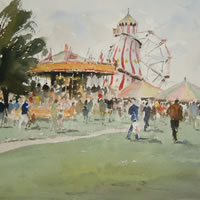 The Victorian Steam Fair – Kim Page – Paintings in Watercolour and Oil – Surrey Art Gallery – England